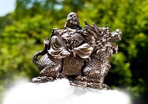 Bilde av Happy Buddha on dragon-Buddha